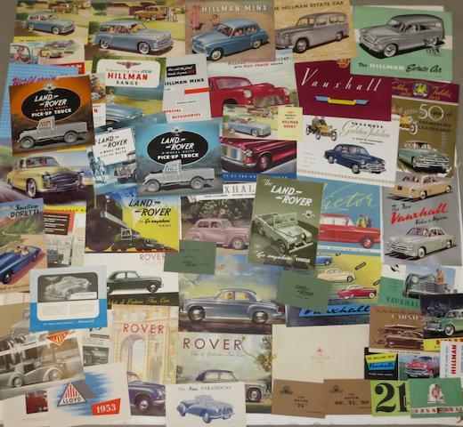 A quantity of sales literature for post-War British marques,