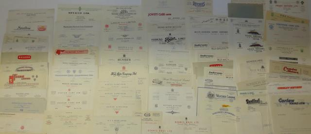 A quantity of letter-headed correspondence from various motorcar manufacturers,