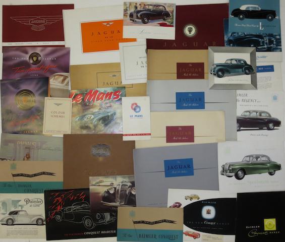Sales brochures for Jaguar, Daimler and Lanchester,