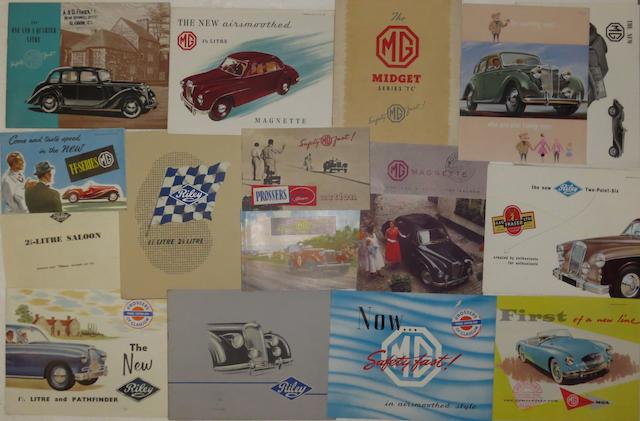 Assorted sales brochures for MG and Riley,