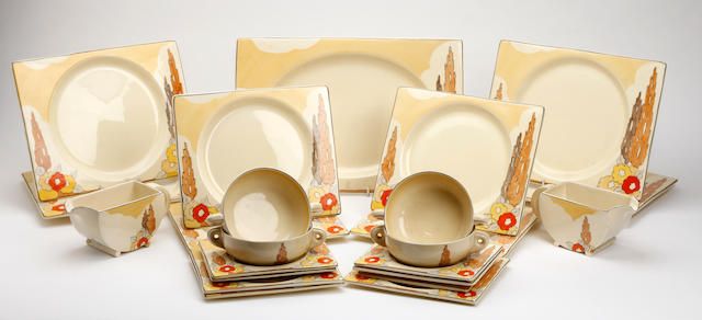 A Clarice Cliff Biarritz 'Orange Capri' pattern part dinner service  Circa 1935