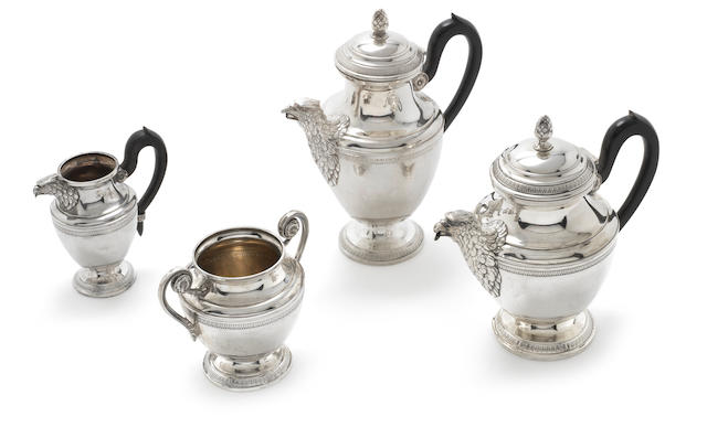 A Continental silver four-piece tea service, possibly Italian impressed shield mark with letters SIOA, also incuse mark 800  (4)