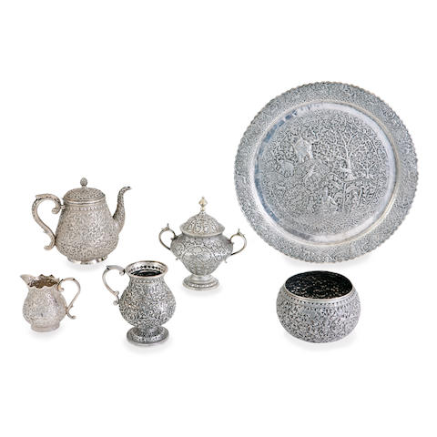 A Kutch silver plate tea service Late 19th century