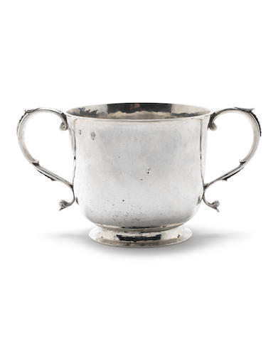 A late 17th century silver two-handled porringer struck twice with the maker's mark possibly for Alexander Roode,  London, circa 1680, see page 139, Jacksons: Silver & Gold Marks (Suffolk 1905)