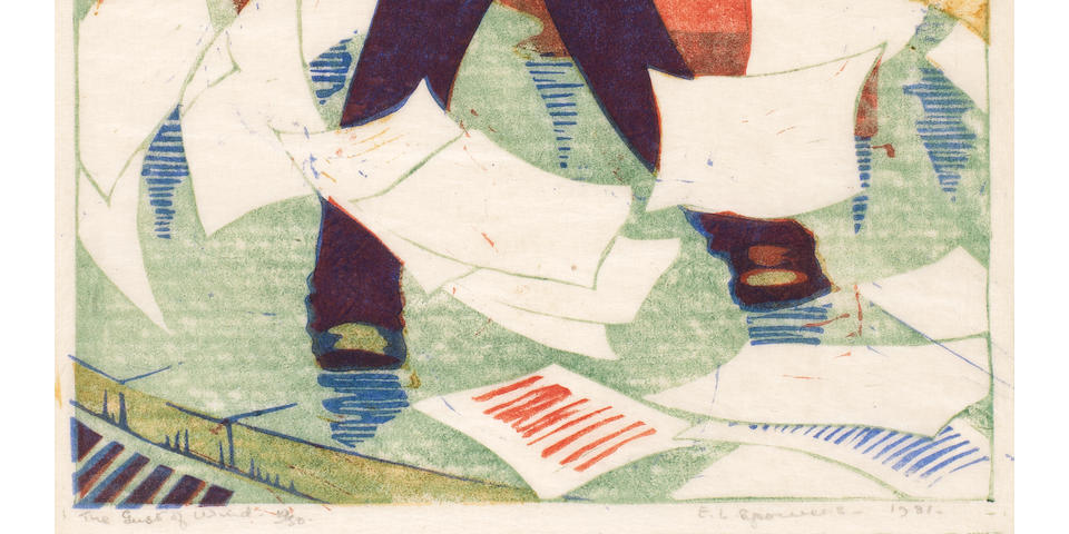 Ethel Spowers (Australian, 1890-1947) Gust of Wind (Coppel ES 15) Linocut printed in red, viridian, yellow ochre and cobalt blue, 1930-31, a richly inked impression, on buff oriental laid tissue, signed, titled, dated and numbered 19/50 in pencil, with margins, 218 x 164mm (8 5/8 x 6 1/2in) (B)