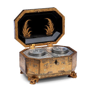 A Canton export black and gold lacquer tea caddy Mid 19th Century.