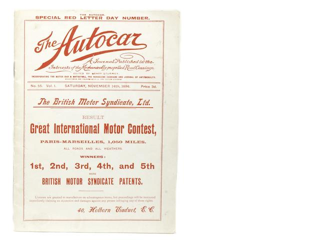 The Autocar - Special Red Letter Day Number, Volume 1 Number 55, November 14th 1896,