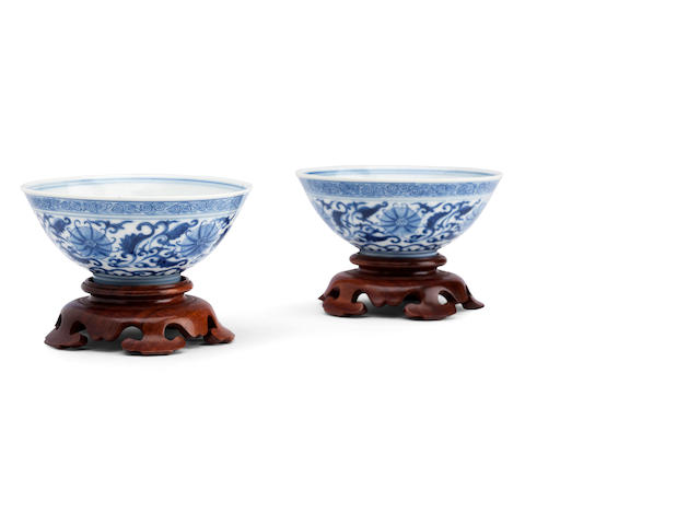 A pair of blue and white tea bowls Bearing 'qing hua zhen pin' [Precious object of pure splendour] mark