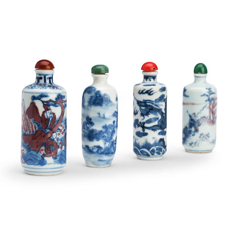 Four underglaze decorated porcelain snuff bottles 19th century