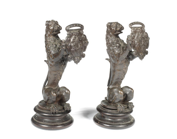 Circle of Tiziano Aspetti, Italian (1559-1606) A pair of Venetian 16th century bronze models of lions