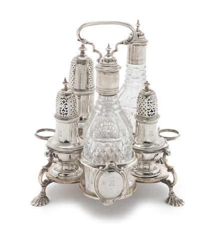 A George II silver Warwick cruet by Samuel Wood, London 1746  (6)