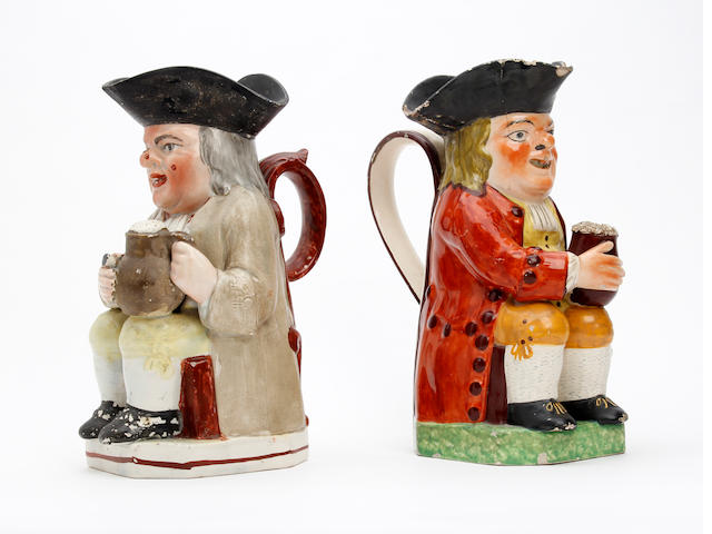 Two Staffordshire Ordinary-type Toby jugs Circa 1825