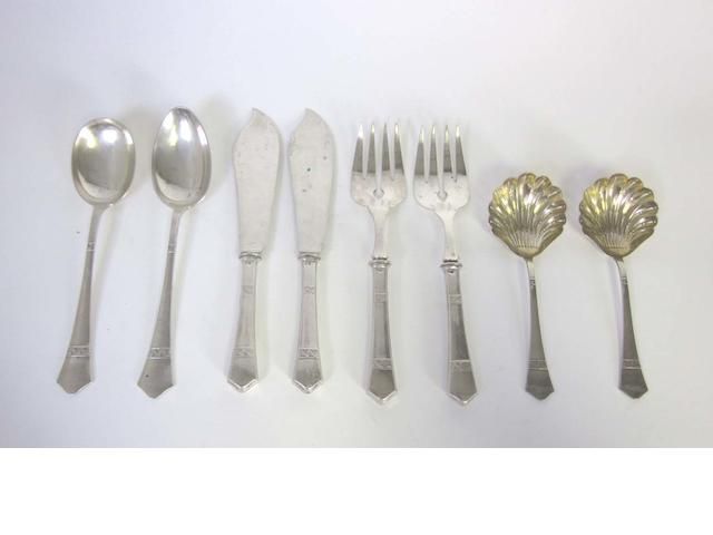 A Austro-Hungarian  silver serving set  by Alexander Sturm, Vienna, 1872-1922  (10)