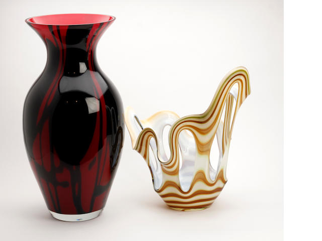 A small collection of Italian art glass, possibly Murano examples   Mid to late 20th Century