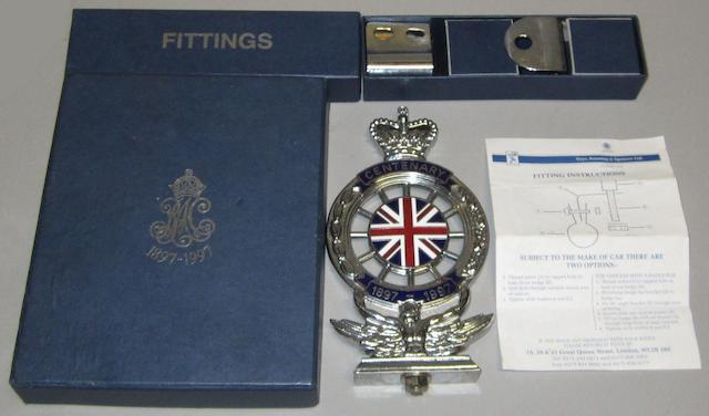An RAC Centenary car badge by Toye, Kenning & Spencer Ltd, 1997,