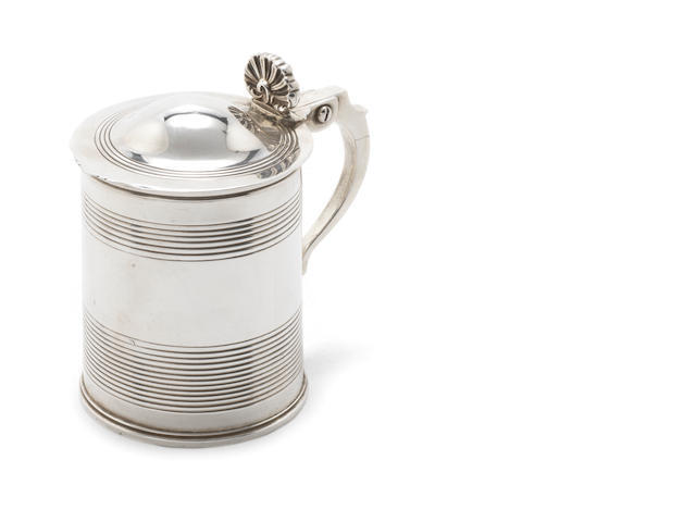 A George III  silver lidded-tankard by Richard Pearce, London 1812