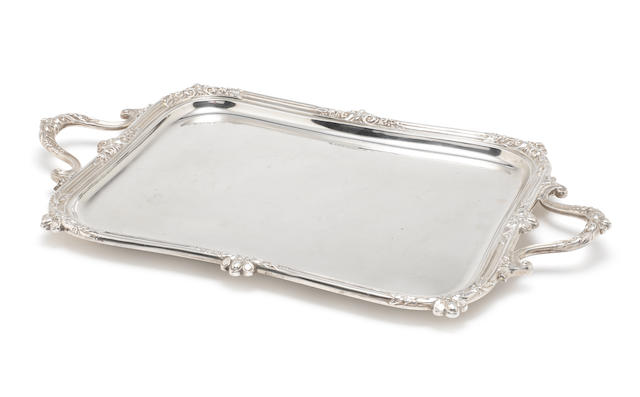 A silver two-handled tray by Jenkins & Timm, Sheffield 1927