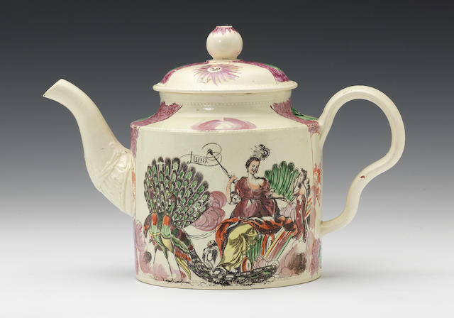 A large William Greatbatch creamware teapot and cover, circa 1770-82