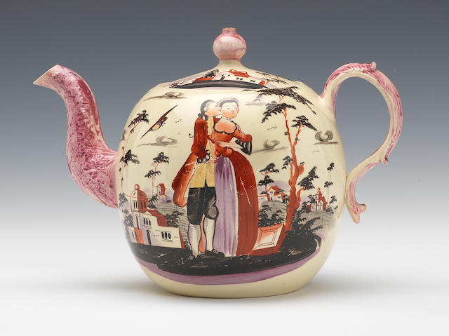 A creamware teapot and cover
