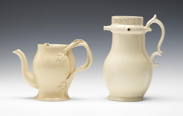 A creamware Argylle and a puzzle jug