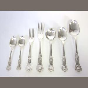 A modern  silver King's pattern with diamond heel table service of flatware by Gee & Holmes, Sheffield 1959  (48)