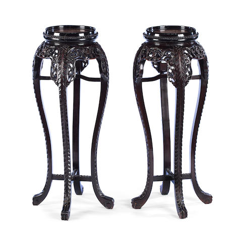 A pair of hardwood plant pedestals 19th century