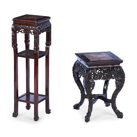 A hardwood plant pedestal and a low example 19th century