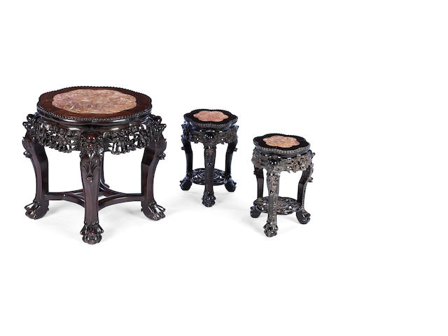 A pair of small hardwood plant pedestals together with another 19th century