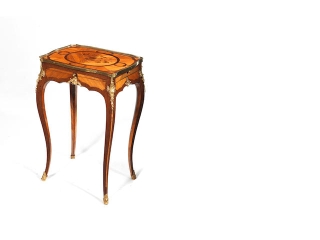 A Louis XV ormolu-mounted tulipwood & parquetry table a ecrire, in the manner of BVRB