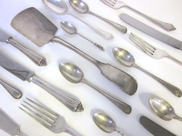 A  silver Belmont pattern table service of flatware by A E Poston & Co Ltd, Sheffield 1934 and a quantity of other items (Qty)