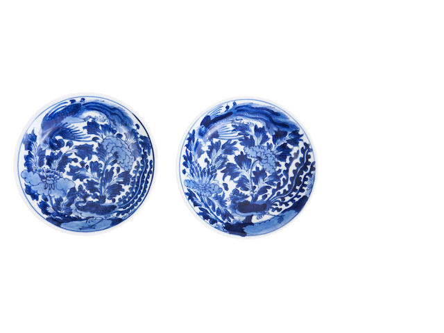 A pair of blue and white saucer bowls Bearing six character quan qing tang fang gu zhi mark