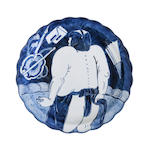 A large blue and white saucer dish Late Edo