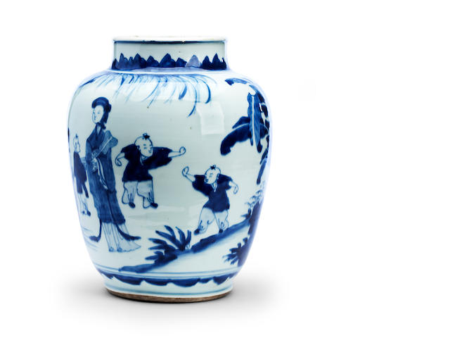 A blue and white jar Transitional