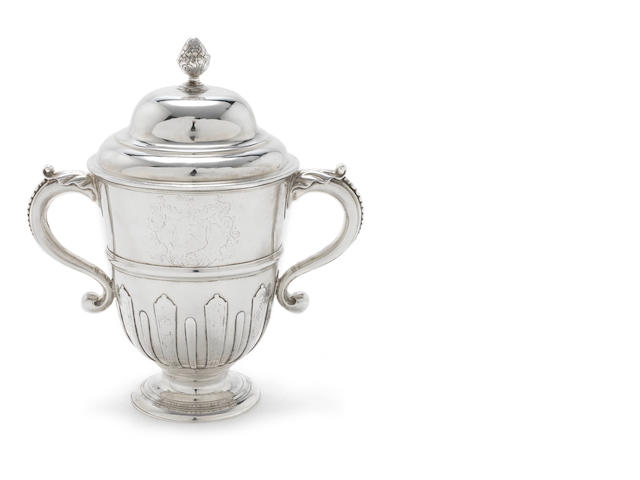 A George I  Irish  silver two-handled cup and associated cover by Thomas Bolton, Dublin 1714, the later cover by William Williamson, probably Dublin, circa 1725