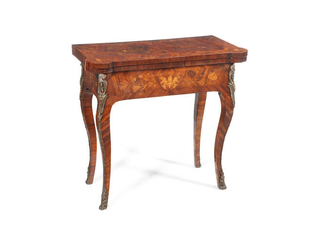 A French Louis XV marquetry card table