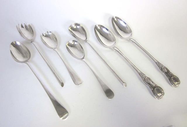 A pair of Victorian silver salad servers by William Hutton & Sons, London 1894; together with an assortment of other silver and silver plated items  (19)