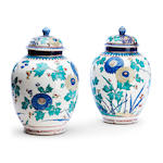A pair of Arita jars and covers Probably circa 1700