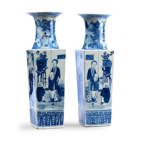 A pair of blue and white vases 19th century, marked with double rings