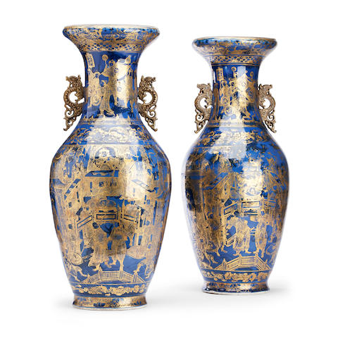 A large pair of powder blue vases 19th century