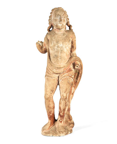 A late 15th century Northern French carved limestone figure of Christ