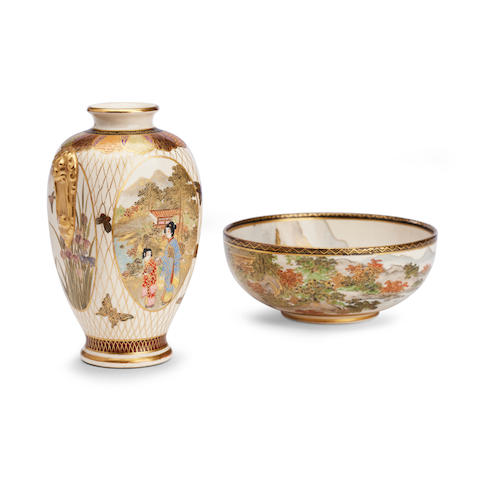 A Satsuma vase by Koshida and a bowl by Choshu Zan Meiji
