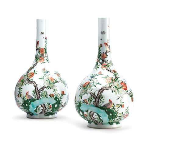A pair of famille verte bottle vases Late 19th century marked with a double ring