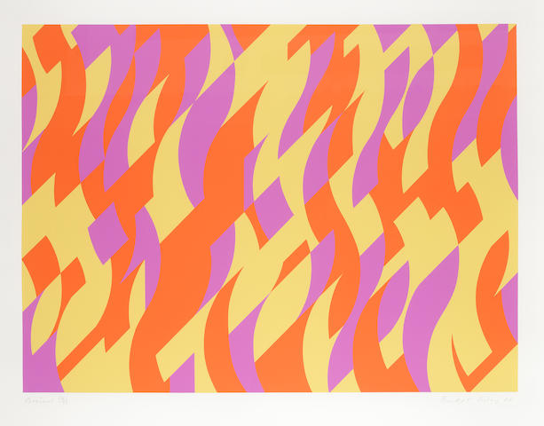 Bridget Riley (British, born 1931) Carnival  Screenprint in colours, 2000, on wove, signed and numbered from the edition of 75 (there were 10 Artist's Proofs), printed by Artizan Editions, Hove,  557 x 759mm (21 7/8 x 29 7/8in)(I)