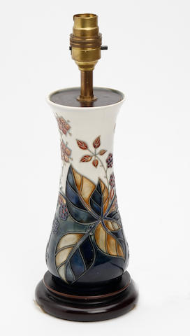 A Moorcroft 'Bramble' pattern lamp base