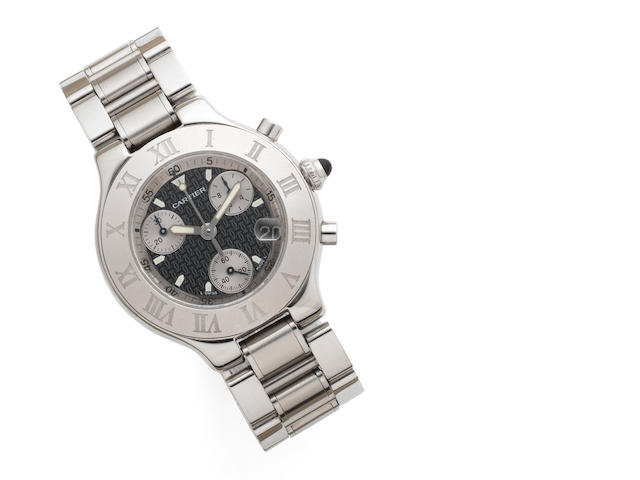 Cartier. A stainless steel quartz chronograph calendar bracelet watch with box and papers Chronoscaph 21, Case No.2424860308PL, Sold 9th August 2004