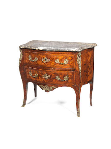 A French 18th century Louis XV ormolu-mounted satiné, kingwood and marquetry serpentine commodeby André Antoine Lardin (Maître in 1750)
