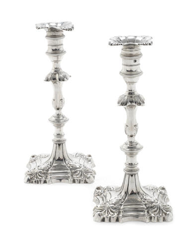 A pair of George III silver candlesticks by William Cafe, London 1760  (2)