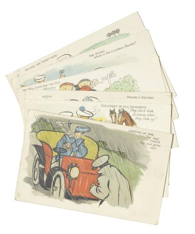 A set of six comical postcards with artwork by H. Cowham,
