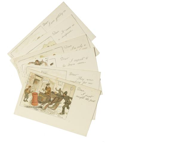 A set of six comical motoring postcards with artwork by Arthur Moreland, circa 1906,