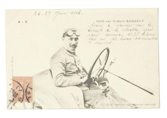 A postcard depicting 'Sisz sur Voiture Renault' sent from Le Mans, 26 June 1906,